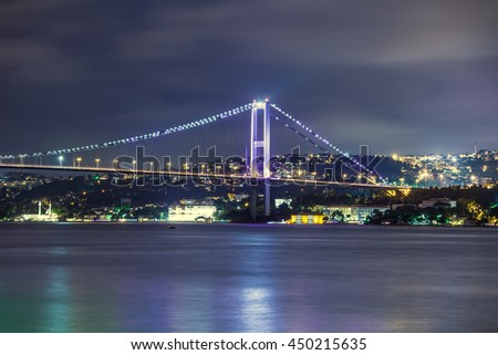 Bosphorus Bridge at night, Istanbul, Turkey