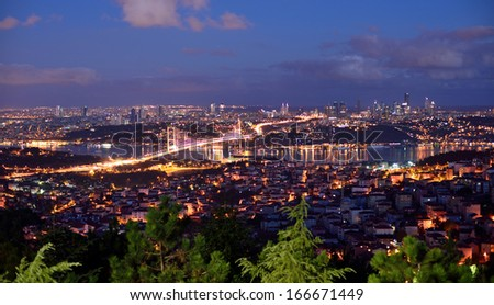 bosphorus bridge at the night, istanbul Turkey