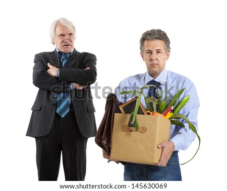 boss and fired man on white background - stock photo