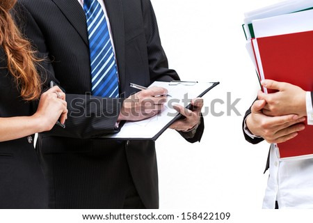 Boss and his new trainee with documents, isolated background