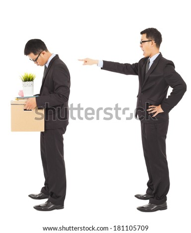 boss announce to fire  the corporate employee - stock photo