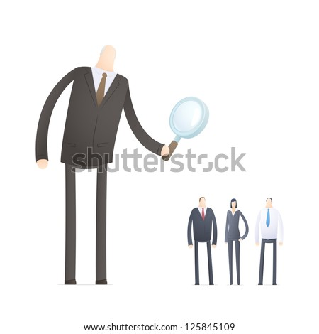 Boss chooses experienced staff - stock photo