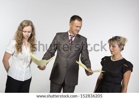 Boss criticizes his employees - stock photo