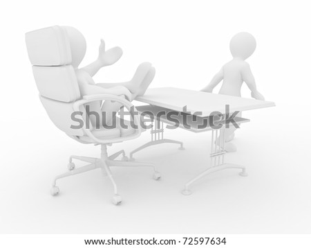 Boss fires employee on white isolated background. 3d