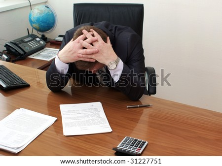 Boss in depression - stock photo