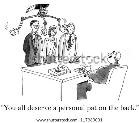 Boss is giving employees a pat on the back, but it's from a robot - stock photo