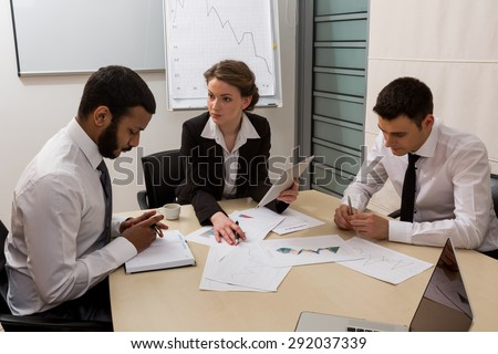Boss scolds the manager for not doing the work. Office life. - stock photo