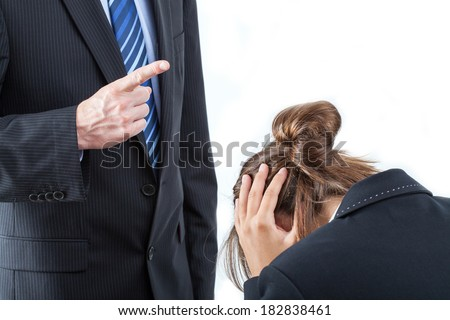 Boss threatening with finger his employee, isolated - stock photo