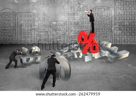 Boss using megaphone yelling at employees pushing 3d metal currency symbol with red percentage sign on city buildings doodles wall background - stock photo