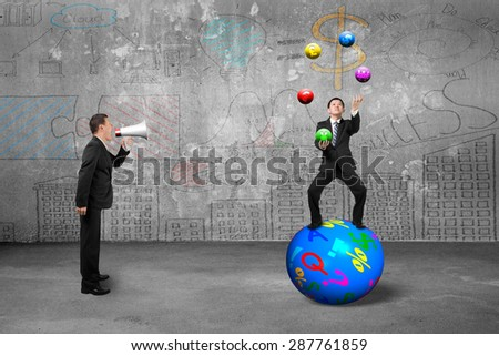 Boss using speaker yelling at businessman balancing on sphere juggling with currency symbol balls, on business concepts doodles concrete wall background. - stock photo