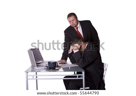 Boss Watching Over his Employee's Shoulder - Concept - Isolated Shot