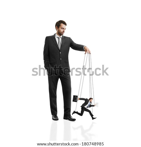 Boss with his marionette - stock photo