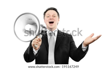 Boss with megaphone, spreads his arms and smiling - stock photo