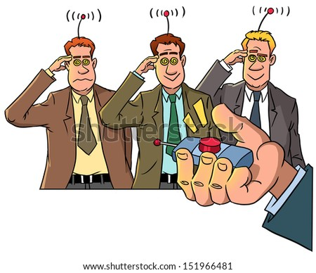 boss with remote control and androids - stock photo