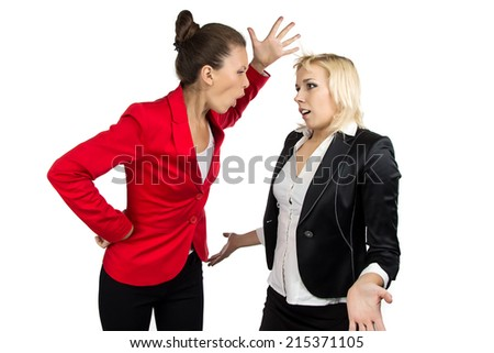 Boss woman  yelling at a subordinate on the white background