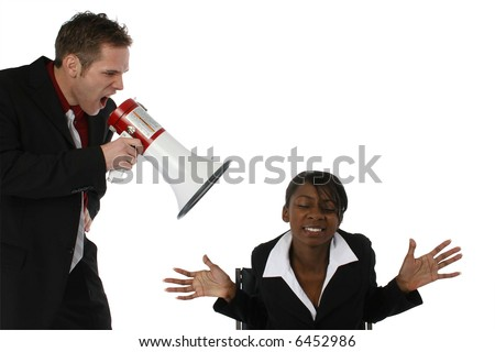 Boss yelling at employee thorugh megaphone /  bullhorn.  Over white. - stock photo