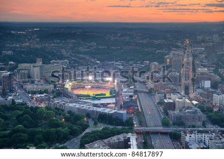 Boston aerial view at sunset with cityscape and buildings. - stock photo