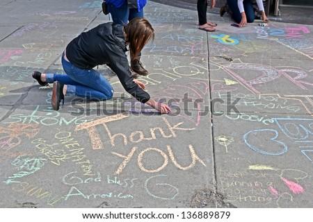 BOSTON - APR 20: Graffiti near Boylston Street in Boston, USA on April 20, 2013. 3 people killed and over 100s injured during Boston Marathon bombing on April 15, 2013. - stock photo