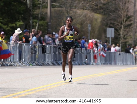 BOSTON - APRIL 18: Tiki Gelana races with the elite women  up Heartbreak Hill during the Boston Marathon April 18, 2016 in Boston. [public race]