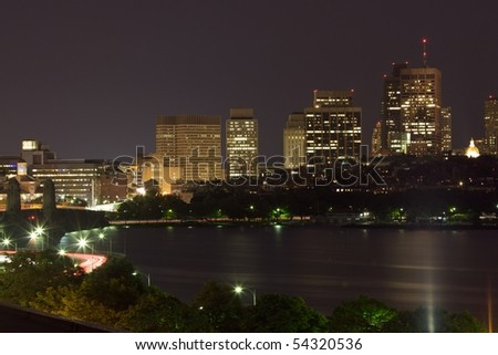 Boston at night, from Cambridge near the Longfellow Bridge