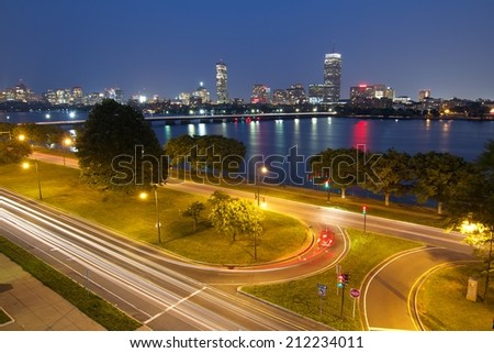 Boston at Night with Charles River - stock photo