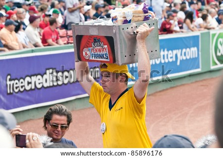 Boston - August 8: Vendor selling famous Fenway Franks on August 8, 2011 at Fenway Park in Boston, Massachusetts. - stock photo