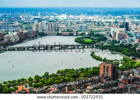 Boston Back Bay Aerial view, Charles River and Longfellow Bridge, Boston, Massachusetts, USA