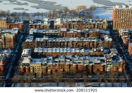 Boston Back Bay apartments aerial view in winter, Boston, Massachusetts, USA - stock photo