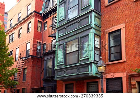 Boston Beacon Hill brick wall facades in Massachusetts USA - stock photo