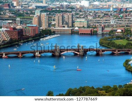 Boston Charles River aerial view with buildings and bridge on a beautiful sunny day - stock photo