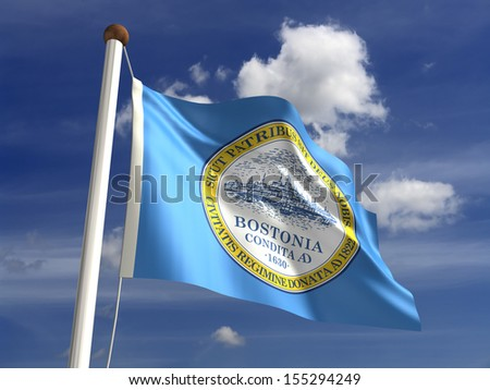 Boston City flag (isolated with clipping path) - stock photo