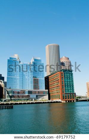 Boston city - 7 Sep - panorama with skyscrapers - stock photo