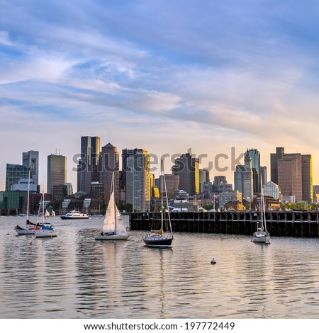 Boston city skyline view from East Boston  - stock photo