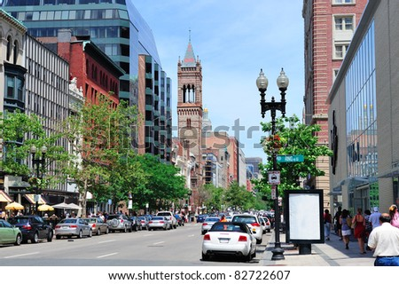 Boston city street view with traffic and historical architecture. - stock photo