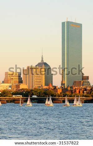 Boston cityscape and sailboats on Charles River - stock photo