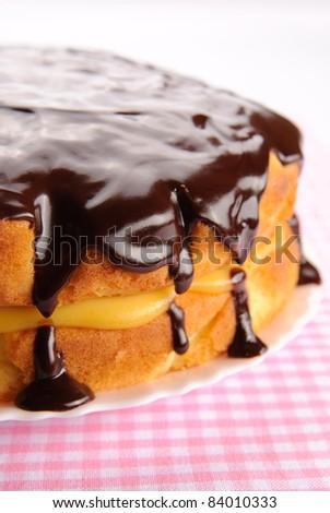 Boston cream pie with chocolate glazing - stock photo