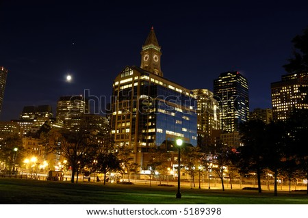 Boston custom house tower - stock photo
