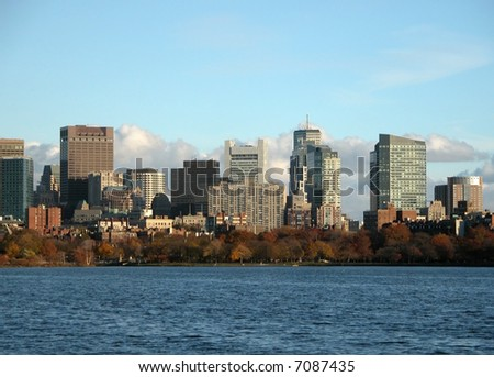 Boston Downtown Overlooking Charles River - stock photo
