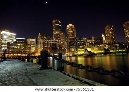 Boston downtown skyline at night, USA - stock photo