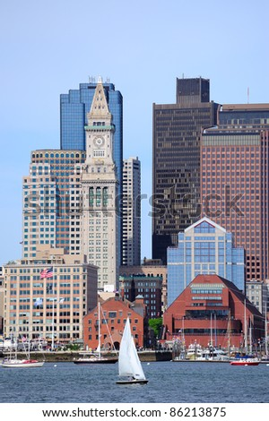 Boston downtown urban architecture with boat and city skyline. - stock photo