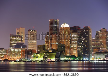 Boston downtown urban skyscrapers over water at dusk.