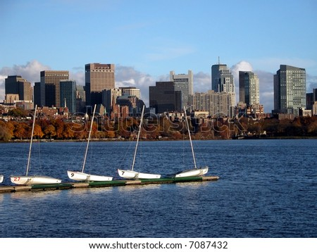 Boston Downtown View with Boats - stock photo