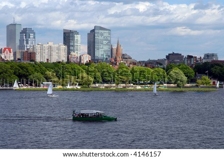 Boston Duck Tour and Sailboats - stock photo