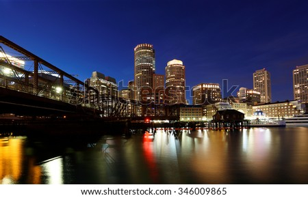 Boston Financial District at Sunset, Boston, Massachusetts, USA