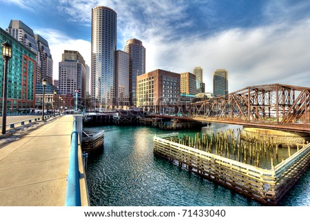 Boston Financial District in Massachusetts, USA.