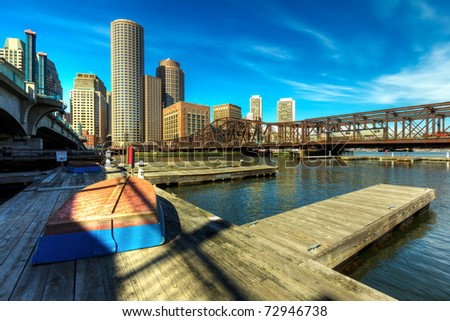 Boston Financial District in Massachusetts, USA. - stock photo