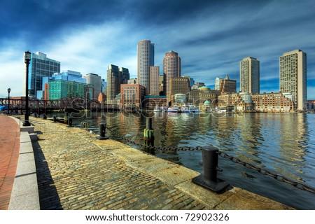 Boston Financial District in Massachusetts - USA. View of the Boston Harbor. - stock photo