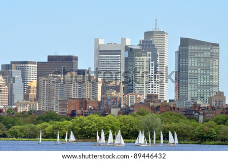 Boston financial district skyline across Charles river, Boston, Massachusetts, USA