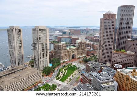 Boston Financial District Skyscrapers Aerial view, from Custom House, Boston, Massachusetts, USA - stock photo