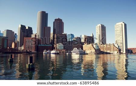 Boston from Fan Pier. - stock photo